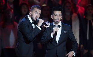 Bigflo (à droite) et Oli lors des 33es Victoires de la Musique, le 9 février 2018 à Boulogne-Billancourt.