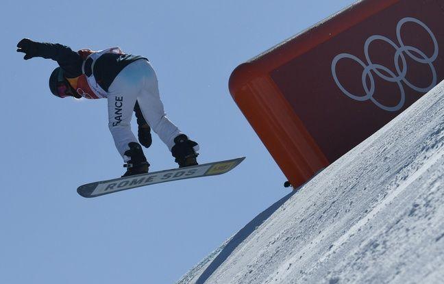 Lucile Lefèvre pendant l'épreuve de snowboard slopestyle des JO 2018, le 12 février.