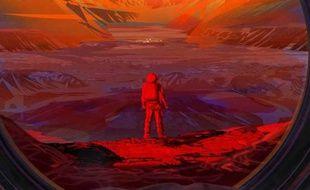 Astronaute sur une planète désertique