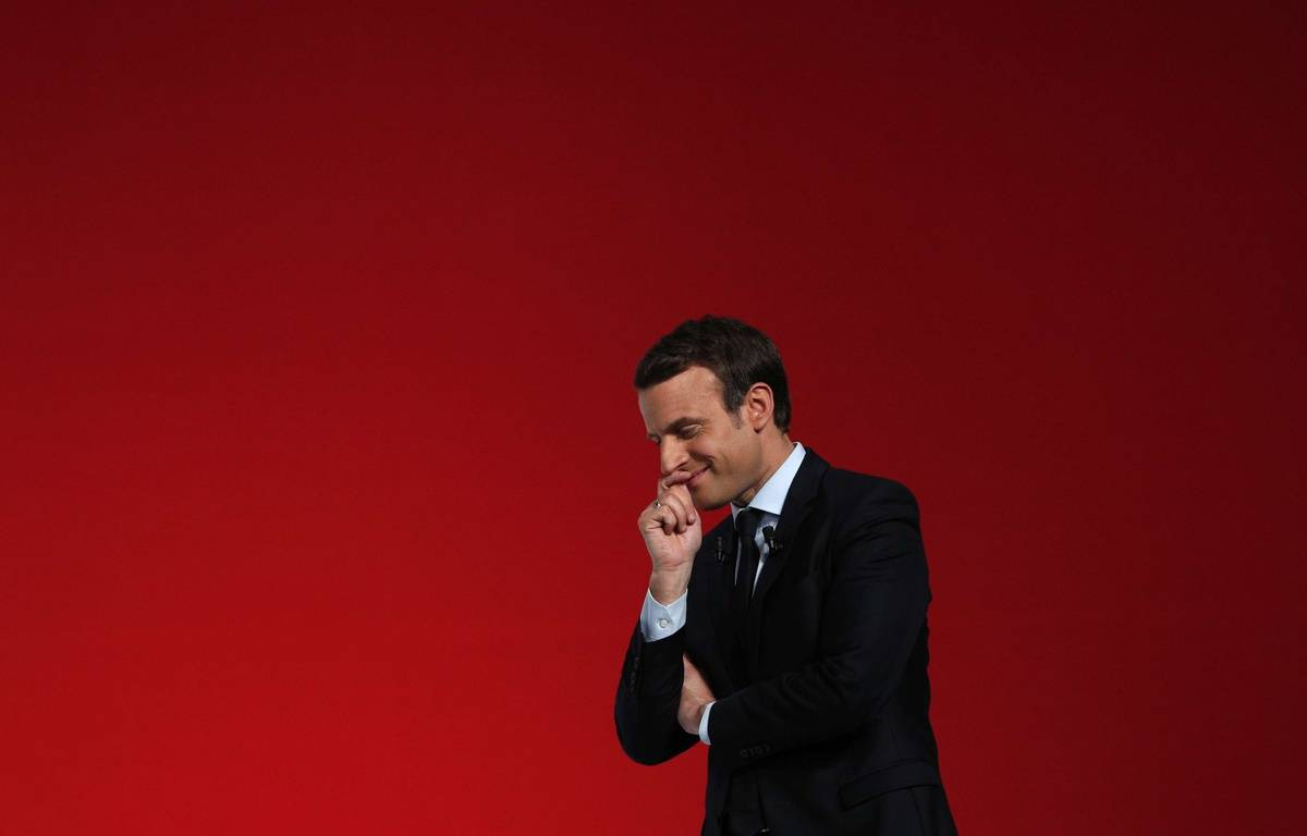 Emmanuel Macron en meeting à Chatellerault, le 28 avril 2017.  – Christophe Ena/AP/SIPA