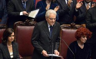 Le nouveau président italien Sergio Mattarella s'exprime devant le Parlement italien après avoir preté serment, le 3 février 2015
