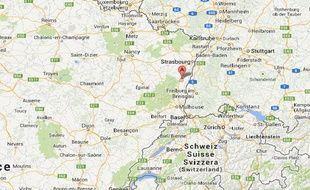 Googlemap de Sélestat dans le Bas-Rhin.
