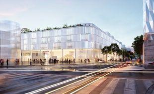 La future école de design de Nantes, depuis le boulevard de la Prairie au duc.