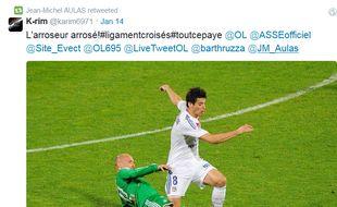 Capture d'écran d'un retweet de Jean-Michel Aulas