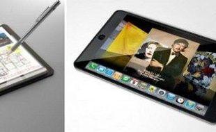 Un prototype de la tablette de Microsoft (à gauche) et une vue d'artiste de celle supposée d'Apple