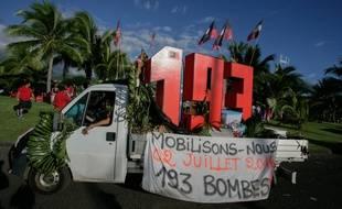 Une manifestation de l'association 193 qui réclame des compensations pour essais nucléaires menés par la France en Polynésie française, le 2 juillet 2016 à Papeete.