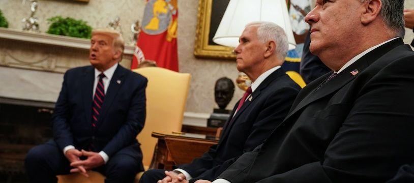 Le président Donald Trump, le vice-président Mike Pence et le secrétaire d'Etat Mike Pompeo.