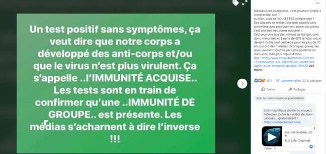 Le post Facebook viral sur l'immunité que garantiraient les anticorps du Covid-19.