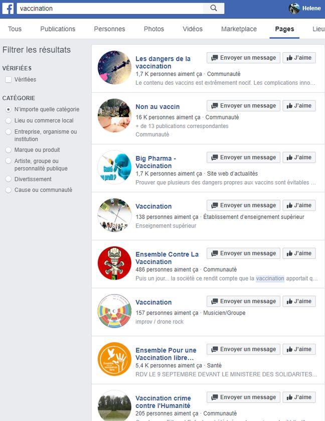 Les résultats des pages sur Facebook lorsqu'on tape le mot