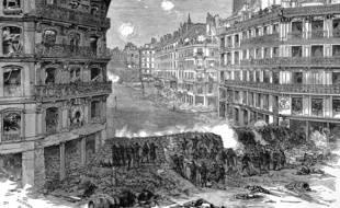 Une barricade rue de Rivoli, lors de la Commune de Paris.
