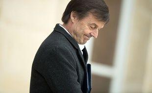 Nicolas Hulot sur le perron de l'Elysée, le 21 février 2018.