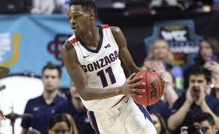 Joël Ayayi sous le maillot de l'université de Gonzaga en mars 2020.
