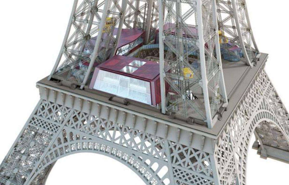 Image de synthèse des travaux d'aménagement du premier étage de la Tour Eiffel prévus entre 2012 et 2013. – Agence Moatti-Rivière
