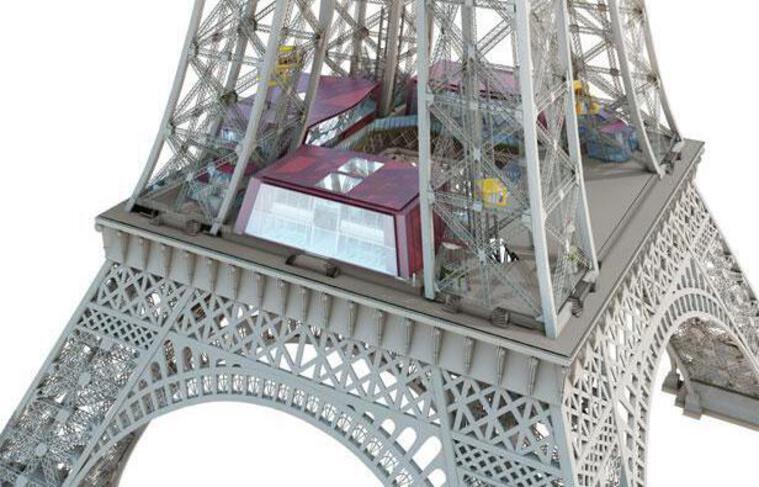 Image de synthèse des travaux d'aménagement du premier étage de la Tour Eiffel prévus entre 2012 et 2013.