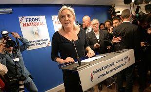 Marine Le Pen, présidente du FN, à son QG des élections européennes, le 25 mai 2014.