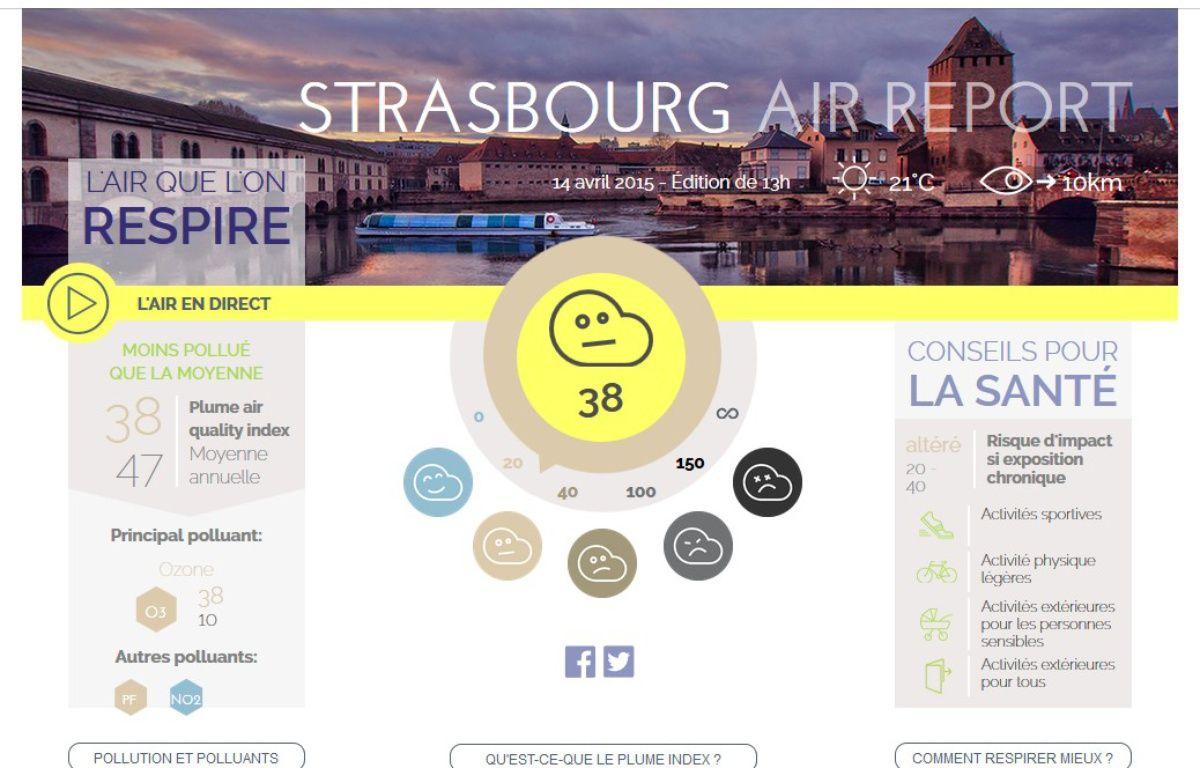 La qualité de l'air à Strasbourg selon le site Plume Labs, le 14 avril 2015. – Capture d'écran www.plumelabs.com