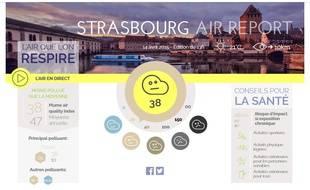 La qualité de l'air à Strasbourg selon le site Plume Labs, le 14 avril 2015.