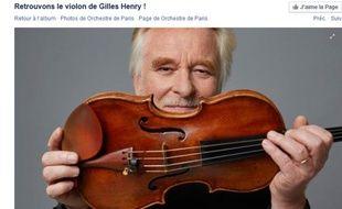 Capture d'écran de l'appel lancé sur la page Facebook de l'Orchestre de Paris pour retrouver le violon de Gilles Henry.