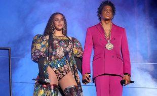 Beyoncé et son mari Jay-Z lors du concert pour le centenaire de la naissance de Nelson Mandela.