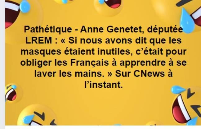 La fausse citation attribuée à la députée LREM Anne Genetet.
