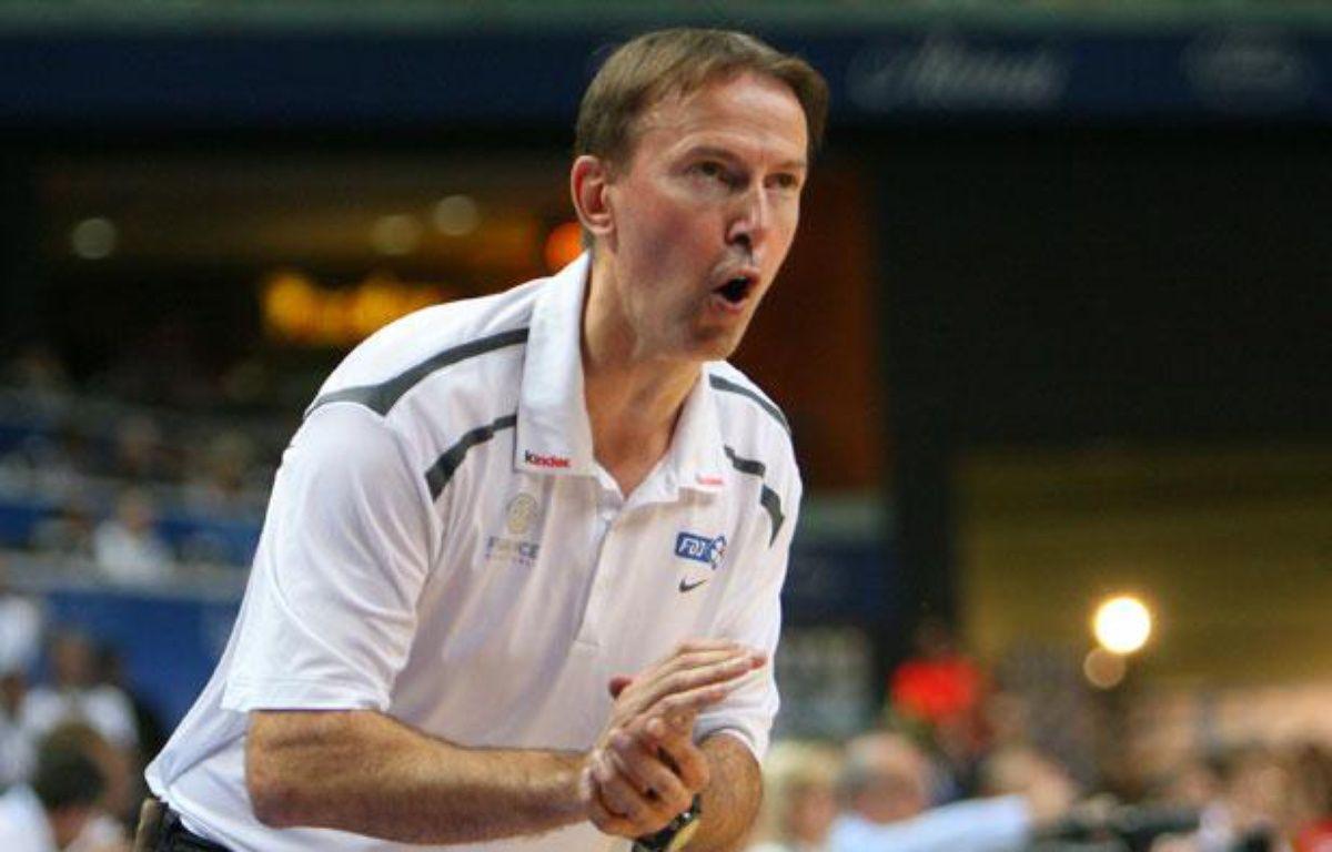 Vincent Collet, le sélectionneur de l'équipe de France de basket, en 2011, lors de l'Euro lituanien. – PETRAS MALUKAS / AFP