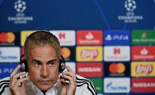 Sylvinho, ici ce lundi lors de la conférence de presse d'avant match contre le Zénith Saint-Pétersbourg. JEFF PACHOUD