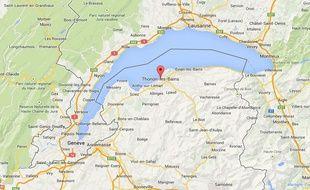Géolocalisation de Thonon-les-Bains en Haute-Savoie.