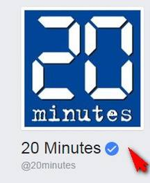 Le logo et la flèche bleue de certification de la Page Facebook de 20 minutes