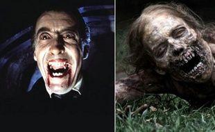 Christopher Lee en Dracula et un zombie de la série «The Walking Dead».