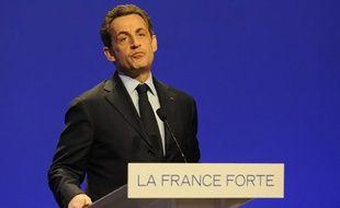 Nicolas Sarkozy, lors d'un meeting à Nancy, le 2 avril 2012.
