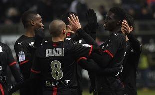 Les joueurs du Stade Rennais après le but d'Ismaïla Sarr le samedi 3 mars face à Amiens.