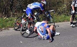 Arnaud Démare a lourdement chuté lors du Tour des Flandres, le 3 avril 2016.