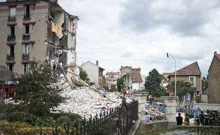 Photo de l'immeuble qui s'est effondré à Rosny-sous-Bois, le 31 août 2014.