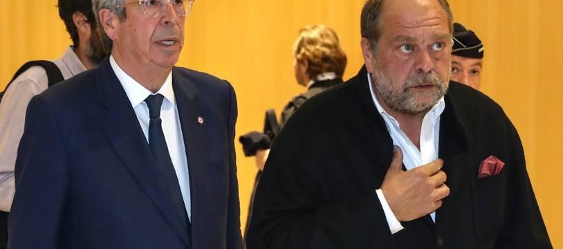 Paris, le 13 mai 2019. Patrick Balkany et son avocat Eric Dupond-Moretti arrivent au palais de justice de Paris.