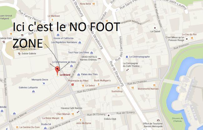 Voici le lieu exact du NO FOOT ZONE en plein centre de Nantes.
