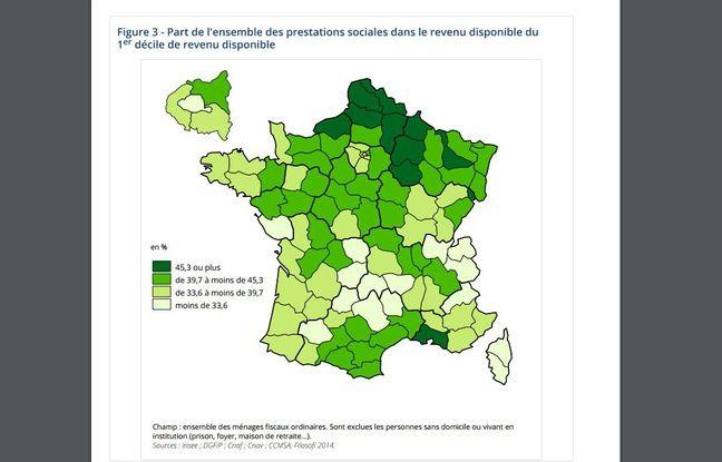 Dans certains départements, les prestations sociales représentent plus de 40% du revenu disponible pour les 10% des ménages les plus modestes.