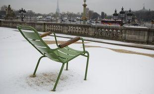 Le 25 fevrier 2013. À la suite d'un épisode neigeux au jardins des Tuileries à Paris.