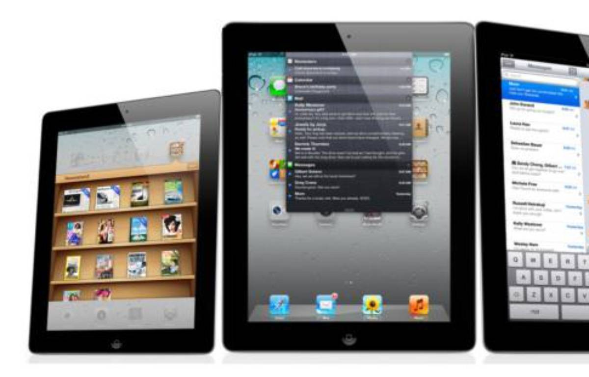 Photomontage d'un iPad 2 ramené à 8 pouces (à gauche). – DR