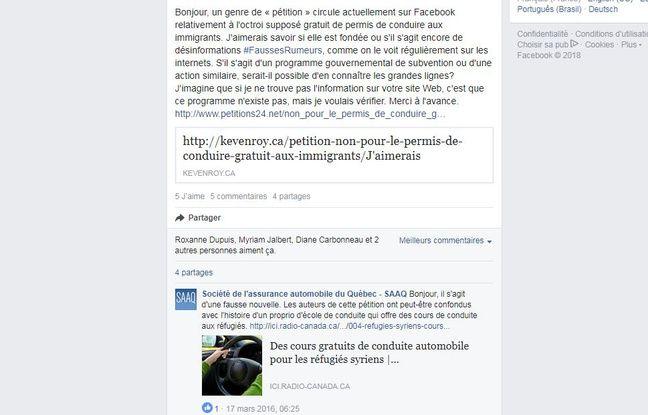 La SAAQ a démenti la rumeur sur Facebook.