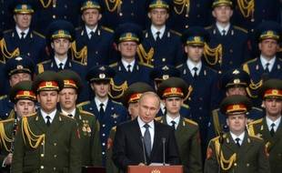 """Le président russe Vladimir Poutine lors du salon militaire """"Armée-2015"""" à Kubinka en Russie, le 16 juin 2015"""