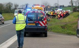 Illustration d'un accident de la route en Ille-et-Vilaine. Ici sur la D34 entre Vern-sur-Seiche et Châteaugiron.