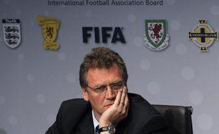 Jérôme Valcke, secrétaire général de la Fédération internationale de foot (FIFA), le 6 mars 2010, lors de l'assemblée générale annuelle de la l'IFAB.