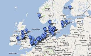 La google map des éoliennes offshore en Europe, au 30 juin 2011.
