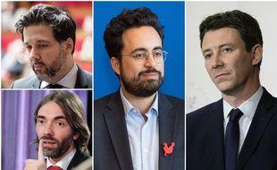 Quatre des six prétendants macronistes à l'investiture pour les municipales à Paris : Hugues Renson, Cédric Villani, Mounir Mahjoubi et Benjamin Griveaux.