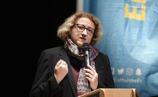 Isabelle Muller-Quoy, députée LREM dont l'élection a été annulée par le Conseil constitutionnel, lors d'un meeting à Pontoise le 22 janvier 2018 pour la partielle de la 1e circonscription du Val-d'Oise.