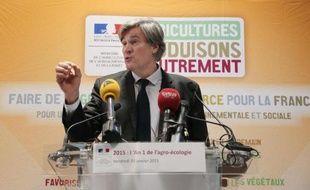 Le ministre de l'Agriculture Stéphane Le Foll présente son plan de réduction des pesticides, le 30 janvier 2015 dans son ministère à Paris