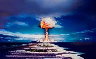 Essai nucléaire dans un atoll de Polynésie française.