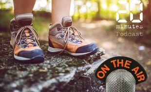 Illustration d'une personne portant des chaussures de randonnée dans un milieu naturel