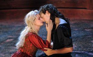 La soprano Emoke Barath et le contre-ténor Valer Barna-Sabadus dans l'Opéra Elena au festival d'Aix-en-Provence le 4 juillet 2013