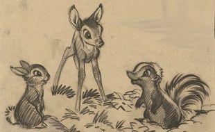 Un dessin préparatoire de Bambi au musée Art Ludique